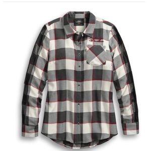Harley Davidson Winged Heart Plaid Button Shirt M